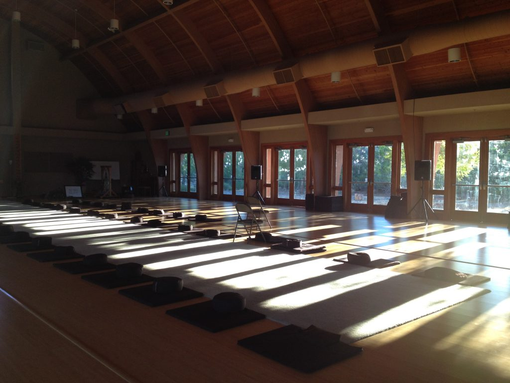 The Meditation Hall at Deer Park Monastery in Escondido, CA awaits Earth Holders during the first-ever Plum Village Earth Holder Retreat, April 2016